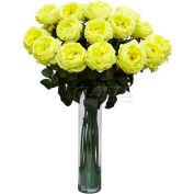 Nearly Natural Fancy Rose Silk Flower Arrangement, Yellow