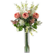 Nearly Natural Rose, Delphinium and Lilac Silk Flower Arrangement, Pink