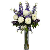 Nearly Natural Rose, Delphinium and Lilac Silk Flower Arrangement, Purple