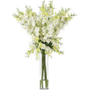 Nearly Natural Delphinium Silk Flower Arrangement, White
