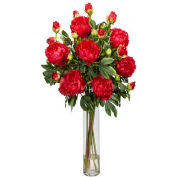 Nearly Natural Peony with Cylinder Silk Flower Arrangement, Red