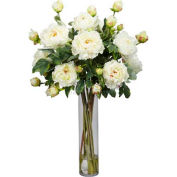 Nearly Natural Peony with Cylinder Silk Flower Arrangement, White