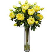 Nearly Natural Peony with Cylinder Silk Flower Arrangement, Yellow