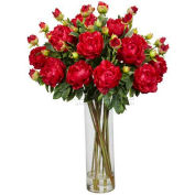 Nearly Natural Giant Peony Silk Flower Arrangement, Red