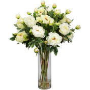Nearly Natural Giant Peony Silk Flower Arrangement, White