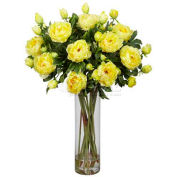 Nearly Natural Giant Peony Silk Flower Arrangement, Yellow