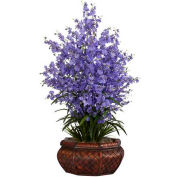 Nearly Natural Large Dancing Lady with Round Vase Silk Arrangement, Purple