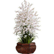 Nearly Natural Large Dancing Lady with Round Vase Silk Arrangement, White