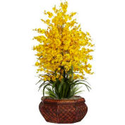 Nearly Natural Large Dancing Lady with Round Vase Silk Arrangement, Yellow