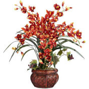 Nearly Natural Cymbidium with Decorative Vase Silk Arrangement, Burgundy
