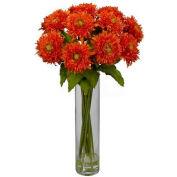 Nearly Natural Sunflower with Cylinder Silk Flower Arrangement, Orange