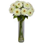 Nearly Natural Sunflower with Cylinder Silk Flower Arrangement, White