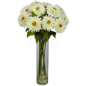 Nearly Natural Sunflower with Cylinder Silk Flower Arrangement, White