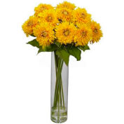 Nearly Natural Sunflower with Cylinder Silk Flower Arrangement, Yellow