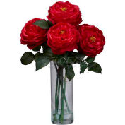 Nearly Natural Fancy Rose with Cylinder Vase Silk Flower Arrangement, Red