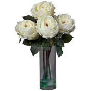 Nearly Natural Fancy Rose with Cylinder Vase Silk Flower Arrangement, White