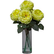 Nearly Natural Fancy Rose with Cylinder Vase Silk Flower Arrangement, Yellow