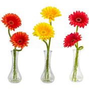 Nearly Natural Gerber Daisy with Bud Vase (Set of 3), Red/Orange/Yellow