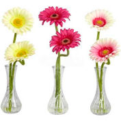 Nearly Natural Gerber Daisy with Bud Vase (Set of 3), Cream/Pink/Beauty