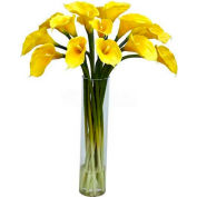 Nearly Natural Calla Lilly with Cylinder Silk Flower Arrangement, Yellow