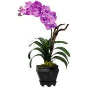 Nearly Natural Vanda with Black Hexagon Vase Silk Arrangement, Purple