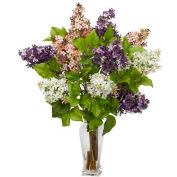 Nearly Natural Lilac Silk Flower Arrangement, White