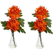 Nearly Natural Mum with Bud Vase Silk Flower Arrangement (Set of 2)