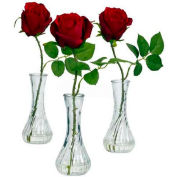 Nearly Natural Rose with Bud Vase (Set of 3)