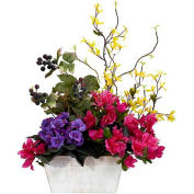 Nearly Natural Mixed Floral with Azalea & White Wash Planter Silk Arrangement