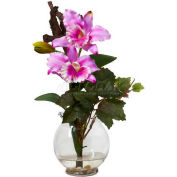 Nearly Natural Mini Cattleya with Fluted Vase Silk Flower Arrangement, Lavender