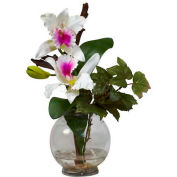 Nearly Natural Mini Cattleya with Fluted Vase Silk Flower Arrangement, White