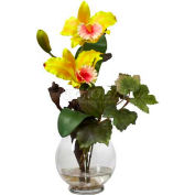 Nearly Natural Mini Cattleya with Fluted Vase Silk Flower Arrangement, Yellow