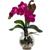 Nearly Natural Mini Vanda with Fluted Vase Silk Flower Arrangement, Beauty