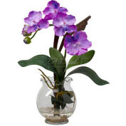 Nearly Natural Mini Vanda with Fluted Vase Silk Flower Arrangement, Purple
