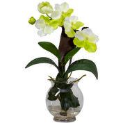 Nearly Natural Mini Vanda with Fluted Vase Silk Flower Arrangement, White
