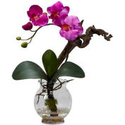 Nearly Natural Mini Phalaenopsis with Fluted Vase Silk Flower Arrangement, Purple