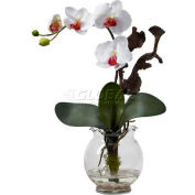 Nearly Natural Mini Phalaenopsis with Fluted Vase Silk Flower Arrangement, White