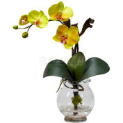 Nearly Natural Mini Phalaenopsis with Fluted Vase Silk Flower Arrangement, Yellow