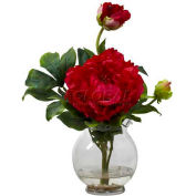 Nearly Natural Peony with Fluted Vase Silk Flower Arrangement, Red