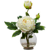 Nearly Natural Peony with Fluted Vase Silk Flower Arrangement, White