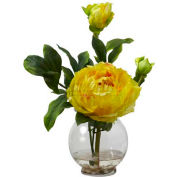 Nearly Natural Peony with Fluted Vase Silk Flower Arrangement, Yellow