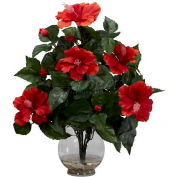 Nearly Natural Hibiscus with Fluted Vase Silk Flower Arrangement