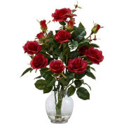 Nearly Natural Rose Bush with Vase Silk Flower Arrangement, Red