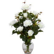 Nearly Natural Rose Bush with Vase Silk Flower Arrangement, White