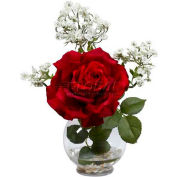 Nearly Natural Rose & Gypso with Fluted Vase Silk Flower Arrangement