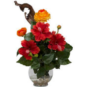 Nearly Natural Hibiscus & Ranunculus with Fluted Bowl Silk Flower Arrangement
