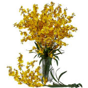 Nearly Natural Dancing Lady Silk Orchid Flowers (Set of 12), Yellow