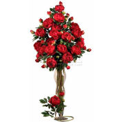Nearly Natural 38.5'' Peony with Leaves Stem (Set of 12), Red