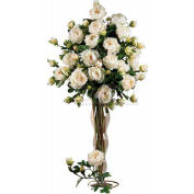 Nearly Natural 38.5'' Peony with Leaves Stem (Set of 12), White