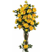 Nearly Natural 38.5'' Peony with Leaves Stem (Set of 12), Yellow